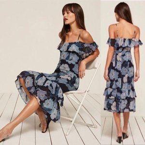 Reformation Odessa Midi Dress Floral Blue